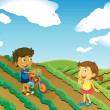 Children playing in the farm — Stock Vector