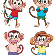 Four giggling monkeys — Stock Vector