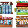 Petshop, burger stand, butcher shop, and bakery — Stock Vector