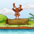 Royalty-Free Stock Vectorielle: Rabbit on a log