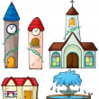 A clock tower, church, house and fountain - Stock Vector