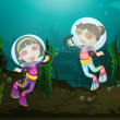 Happy girls diving underwater — Stock Vector
