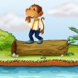 A monkey standing on a log - 