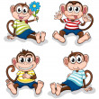 Monkeys with different facial expressions — Stock Vector