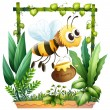 A bee with a honey - Stock Vector