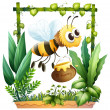 Stock Vector: Bee with honey