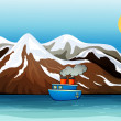 A blue ship near the mountain — Vector de stock