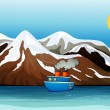 A blue ship near the mountain — Stock Vector