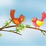 一对夫妇只鸟 — 图库矢量图片