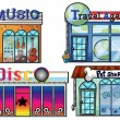 A musical store, travel agent office, disco house and a pet shop - Stock Vector