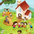 Playground with kids — Stockvector #18837163