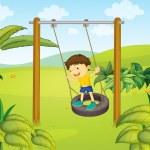 A little boy swinging — Stock Vector