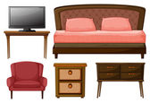 Home furnitures and television — Vector de stock