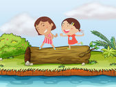 Children and a log — Stock Vector