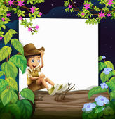 Boy and nature — Stock Vector