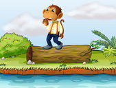 A monkey standing on a log — Stock Vector