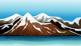 Mountain covered with snow — Stock Vector