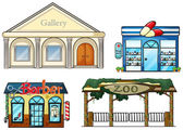 A gallery, drug store, barber shop and zoo — Cтоковый вектор