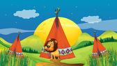 A lion inside a tent — Stock Vector