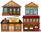 English pub, Korean restaurant, pawnshop and fire station — Stock Vector