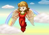 An angel and a rainbow — Stock Vector