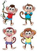 Four giggling monkeys — Stock Vector