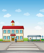 School and bus stop — Stock Vector