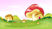 Big and small mushrooms — Stock Vector