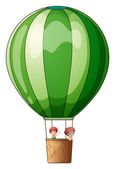 An air balloon flying with two kids — Stock Vector