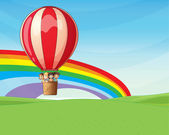 Children riding on a hot air balloon — Stock Vector