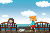 Two girls near the sea — Stock Vector