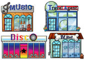 A musical store, travel agent office, disco house and a pet shop — Stockvector