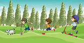 Children running with a dog — Stock Vector