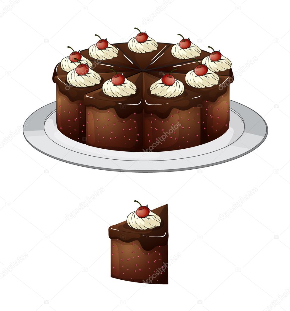 Illustration of a chocolate cake and a slice with cherries on top on a white background  Stock Vector #18830759
