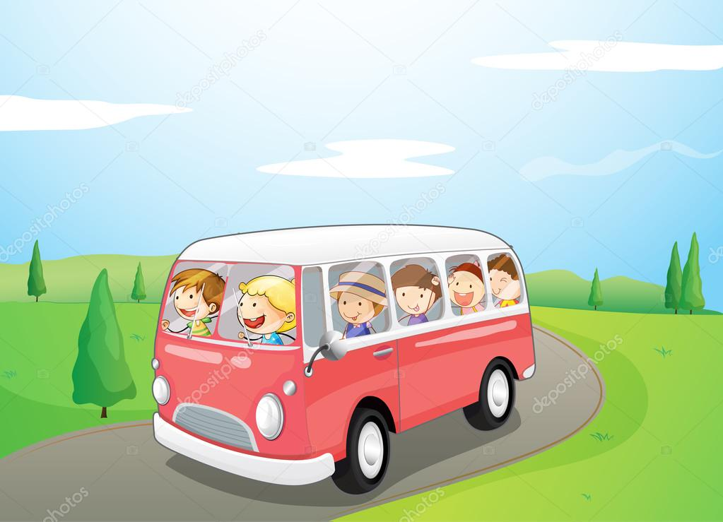 Illustration of little children riding in a bus — Stock Vector #18836713