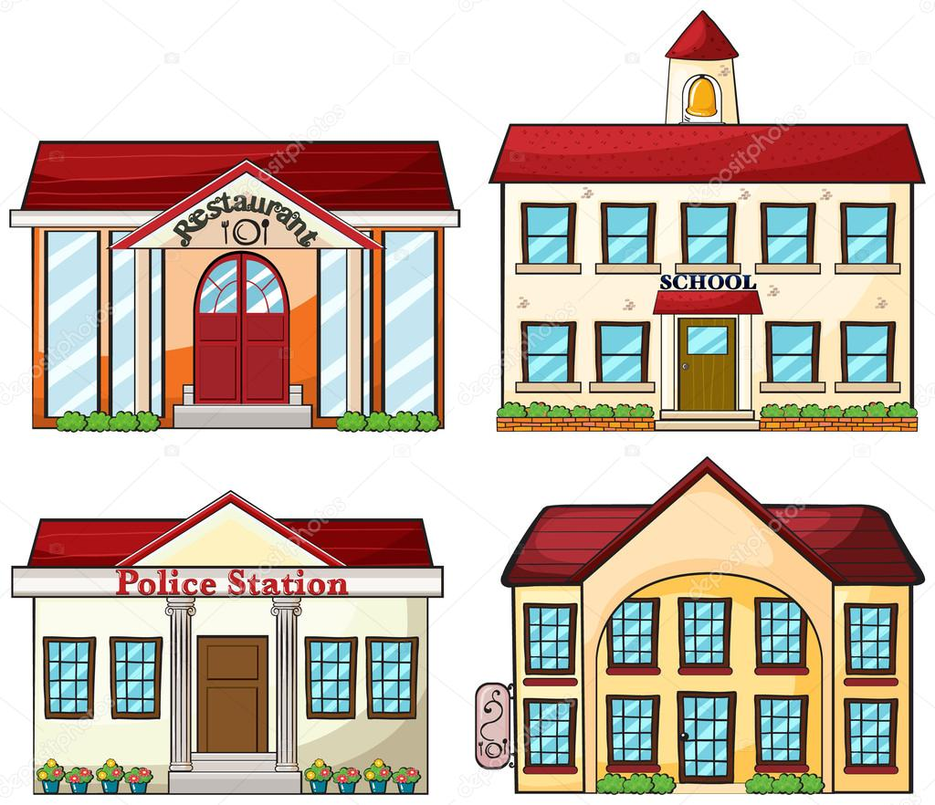 Illustration of the useful buildings on a white background — Stock Vector #18836907