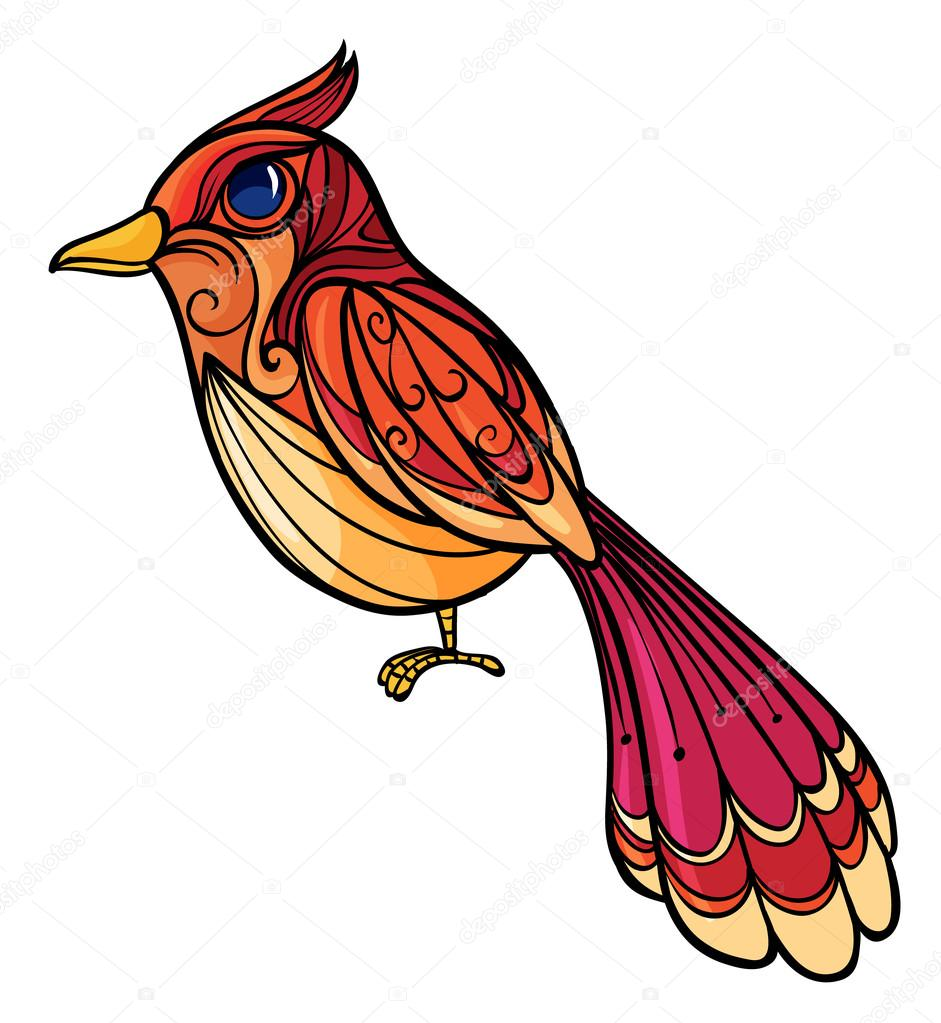 Illustration of a colorful bird on a white background — Stock Vector #18837047