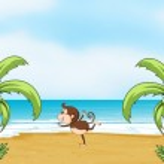 A monkey dancing on a beach — Stock Vector