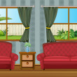 Royalty-Free Stock Vector Image: A sofaset and side table