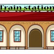 Stock Vector: A train station