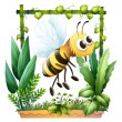Stock Vector: Bee in garden