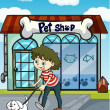 A smiling girl with dog and a pet shop - Stockvektor