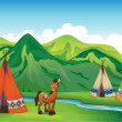 Royalty-Free Stock Vector Image: Tents and a smiling horse