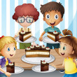 Stock Vector: Smiling kids and cake