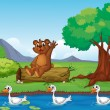 Royalty-Free Stock Vector Image: A smiling bear and ducks