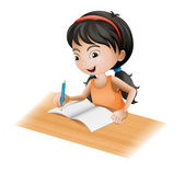 A girl writing — Stock Vector