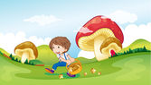 A kid and the mushrooms — Stock Vector