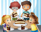 A smiling kids and cake — Stock Vector