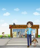 A boy crossing the street — Stock Vector