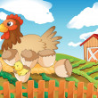 A hen and chicks — Stock Vector